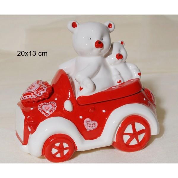 Αυτοκινητάκι με Αρκουδάκι Κεραμικό 20x13cm