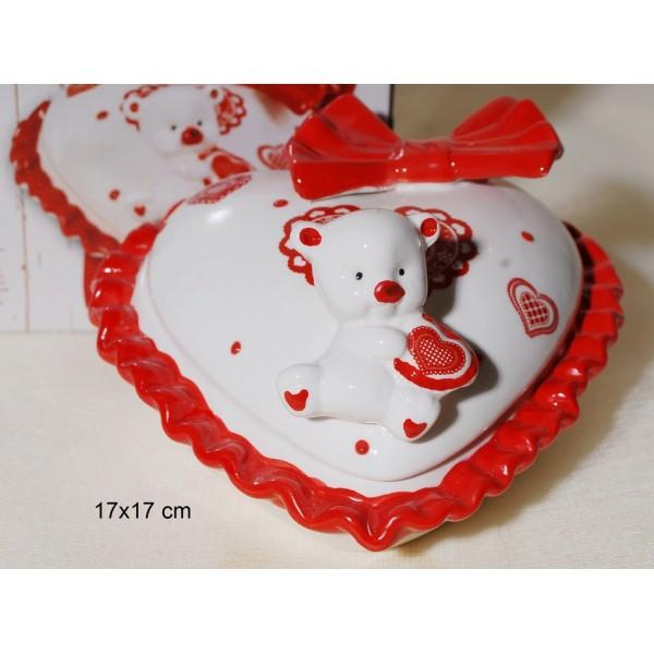 Κουτί Καρδιά με Αρκουδάκι Κεραμικό 17x17cm