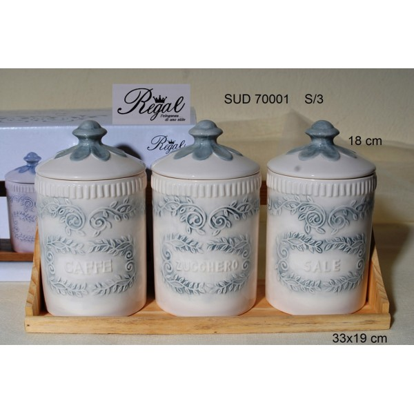 Βάζα Καφέ-Ζάχαρη-Αλάτι Σ/3 Florence σε ξύλινη βάση