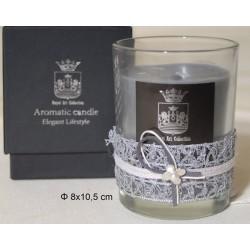 Κερί σε Γυάλινο Ποτήρι Διακοσμημένο 8x10,5cm Black Stone