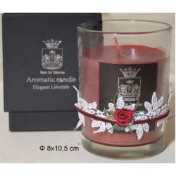 Κερί σε Γυάλινο Ποτήρι Διακοσμημένο 8x10,5cm Strawberry