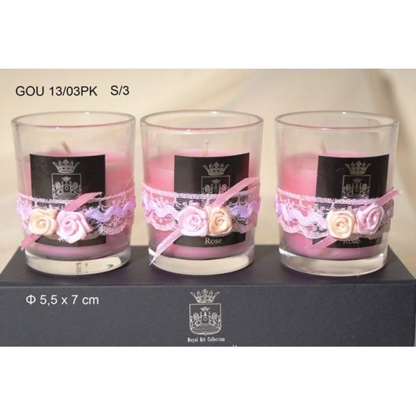 Κερί σε Γυάλινο Ποτήρι Διακοσμημένο Σ/3 5,5x7cm Rose