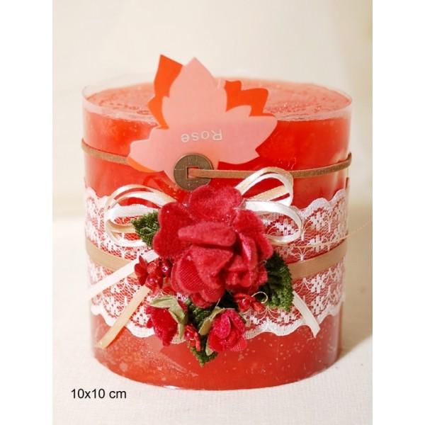 Κερί Αρωματικό Διακοσμημένο 10x10cm Rose