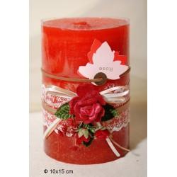 Κερί Αρωματικό Διακοσμημένο 10x15cm Rose