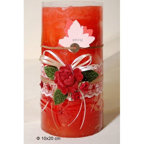 Κερί Αρωματικό Διακοσμημένο 10x20cm Rose