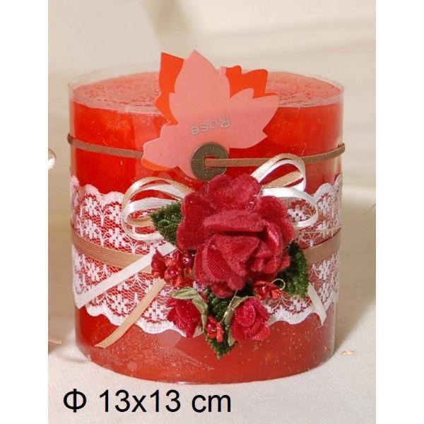 Κερί Αρωματικό Διακοσμημένο 13x13cm Rose
