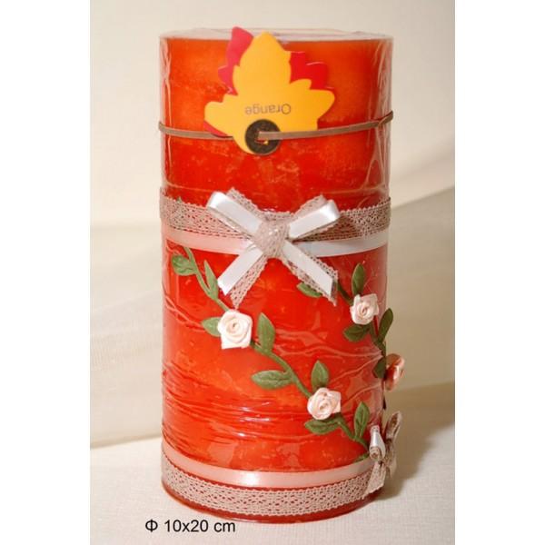 Κερί Αρωματικό Διακοσμημένο 10x20cm Orange