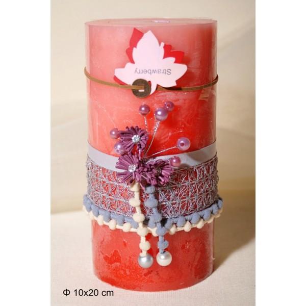 Κερί Αρωματικό Διακοσμημένο 10x20cm Strawberry