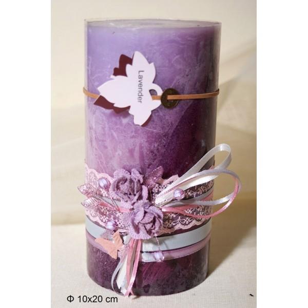 Κερί Αρωματικό Διακοσμημένο 10x20cm Lavender