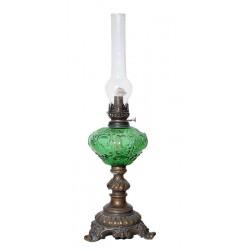 Λάμπα Πετρελαίου Μπρούτζινη Με Γυαλί Πράσινο 1106GR
