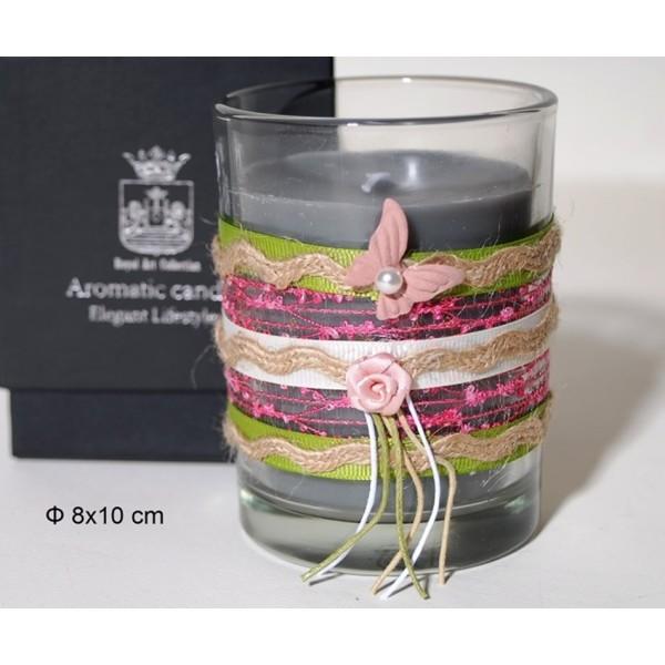 Αρωματικό Κερί σε γυάλινο ποτηράκι με Χειροποίητη Διακόσμηση