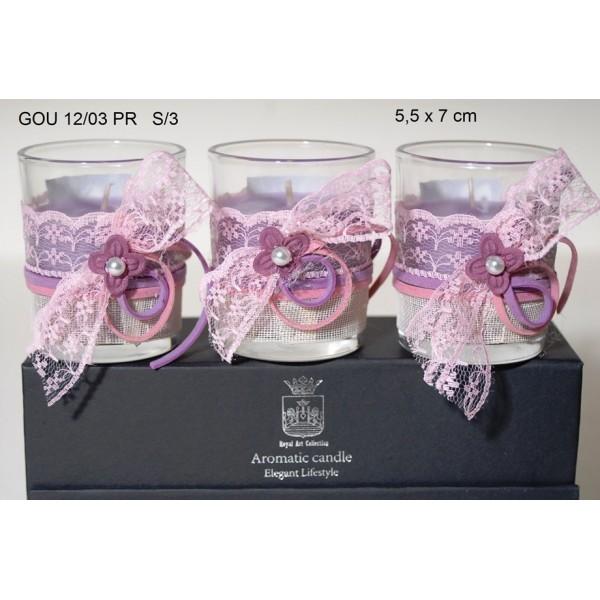 Αρωματικά Κεριά Σ/3 σε γυάλινα ποτηράκια με Χειροποίητη Διακόσμηση