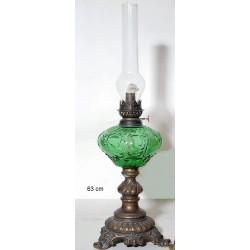 Λάμπα Πετρελαίου Μπρούτζινη Με Γυαλί Πράσινο