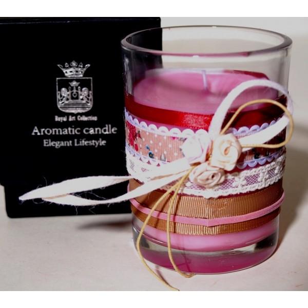 Κερί σε γυάλινο ποτήρι με άρωμα Τριαντάφυλλο
