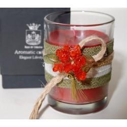 Κερί σε γυάλινο ποτήρι με άρωμα Φράουλα